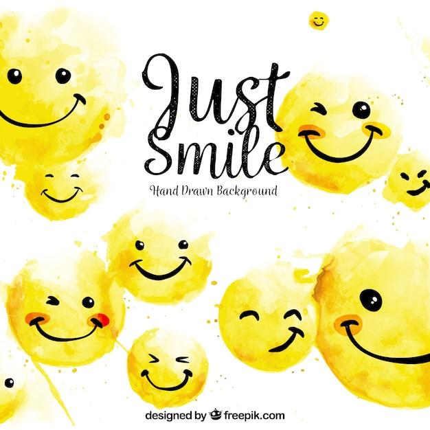 Fondo lindo con emoticonos felices dibujados a mano vector gratuito
