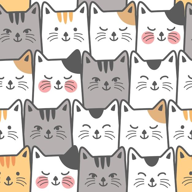 Fondo de lindo gato sin patrón | Descargar Vectores Premium