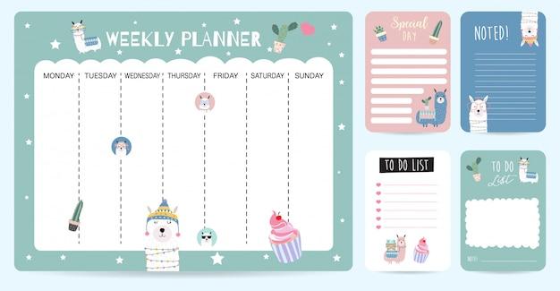 Fondo lindo planificador semanal para niño con llama Vector Premium