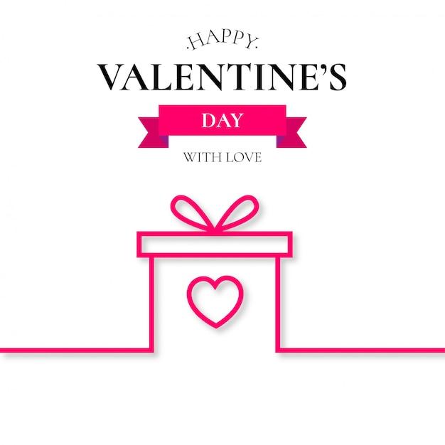 Fondo de linea de regalo de san valentin. vector gratuito