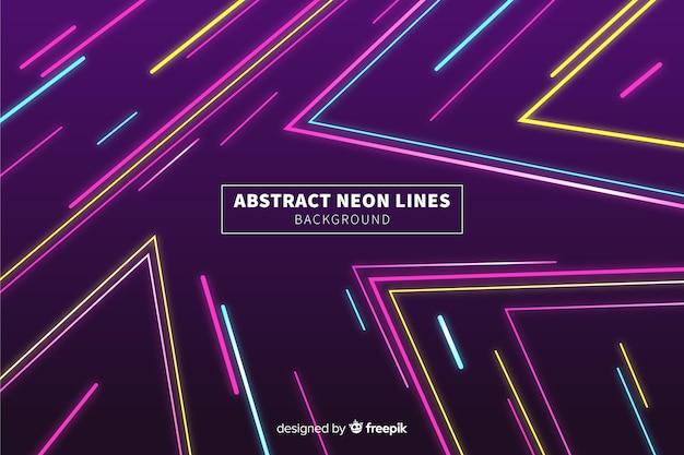 Fondo líneas abstractas coloridas de neón vector gratuito