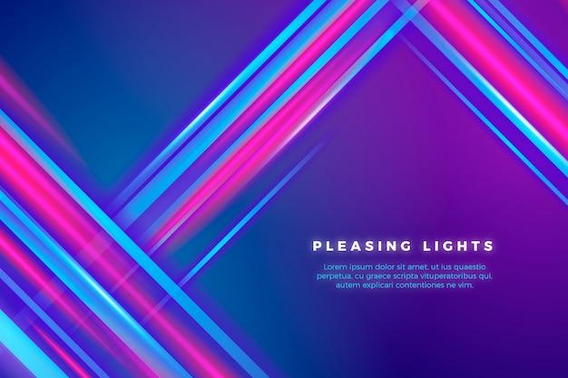 Fondo de líneas y luces de neón Vector Premium
