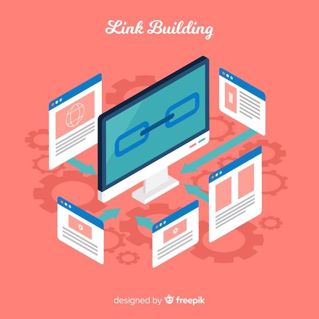 Fondo de link building en diseño plano vector gratuito