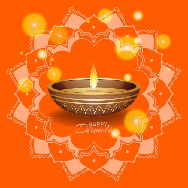 Fondo con linterna mandala para feliz festival de diwali vector gratuito