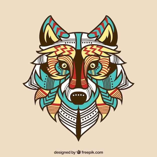Fondo De Lobo étnico De Colores Descargar Vectores Gratis