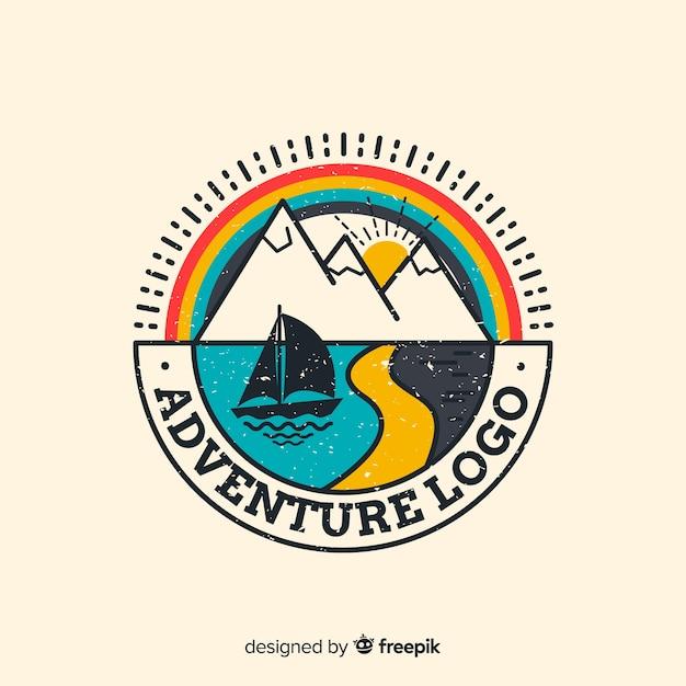 Fondo logo aventura vintage vector gratuito