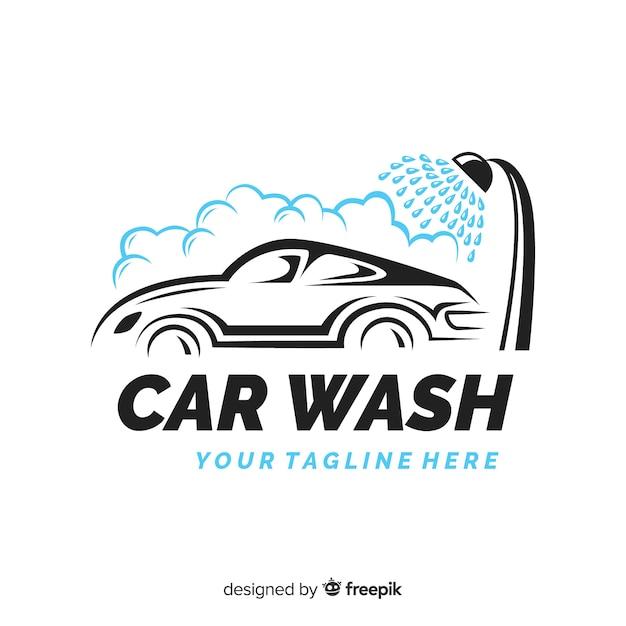 Fondo logo lavadero de coches dibujado a mano Vector Premium