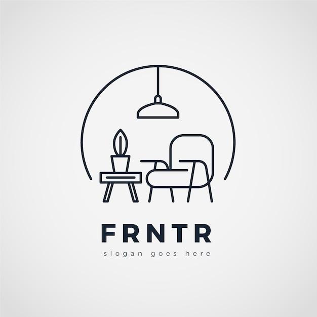 Fondo de logo de muebles minimalistas Vector Premium