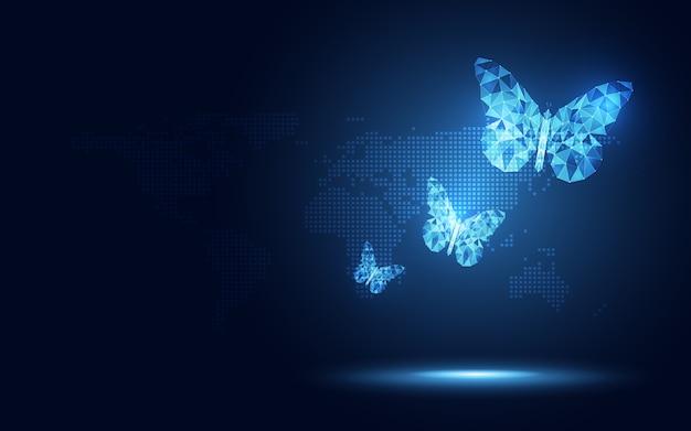 Fondo lowpoly azul futurista de la tecnología del extracto de la mariposa. inteligencia artificial de transformación digital y concepto de big data. Vector Premium