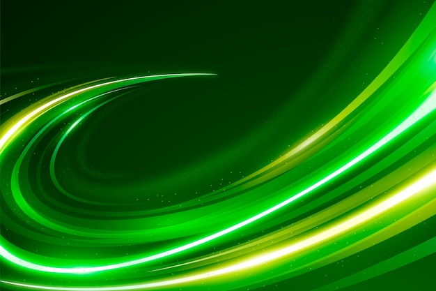 Fondo de luces de neón de velocidad dorada y verde vector gratuito