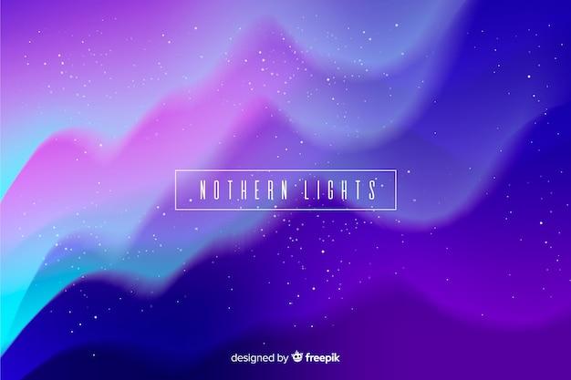 Fondo de luces del norte con noche estrellada ondulada vector gratuito