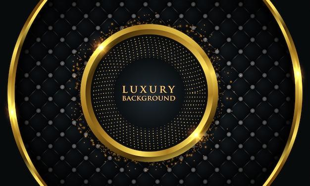 Fondo de lujo con círculo dorado brillante Vector Premium