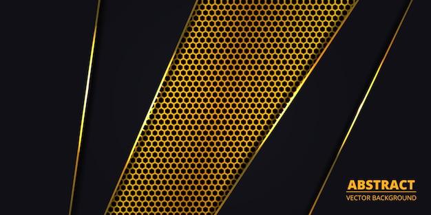 Fondo de lujo con fibra de carbono hexágono dorado. Vector Premium