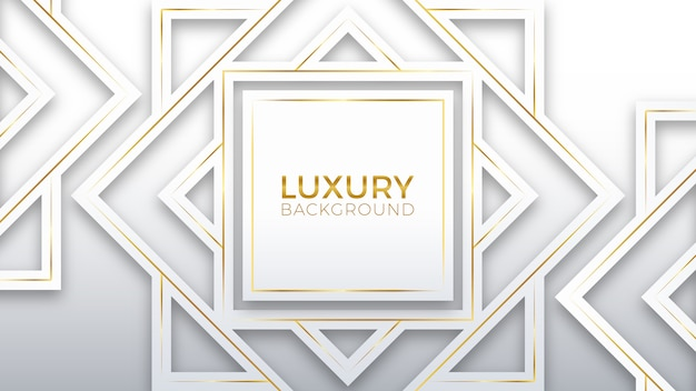Fondo de lujo de oro blanco Vector Premium