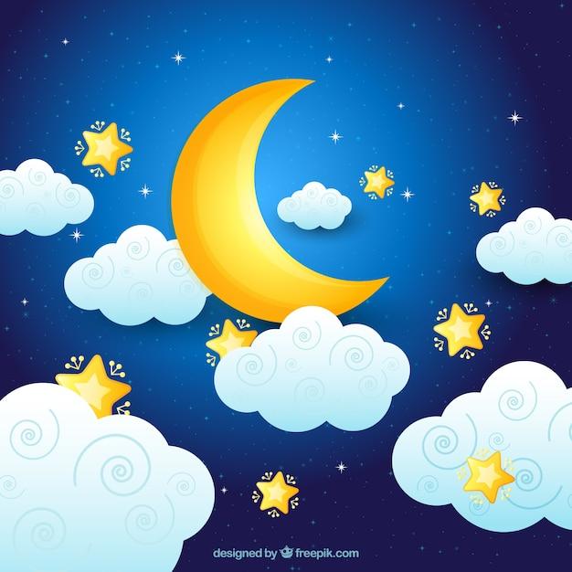 Fondo de luna con nubes y estrellas Vector Premium