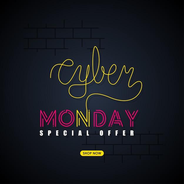 Fondo de lunes cibernético Vector Premium