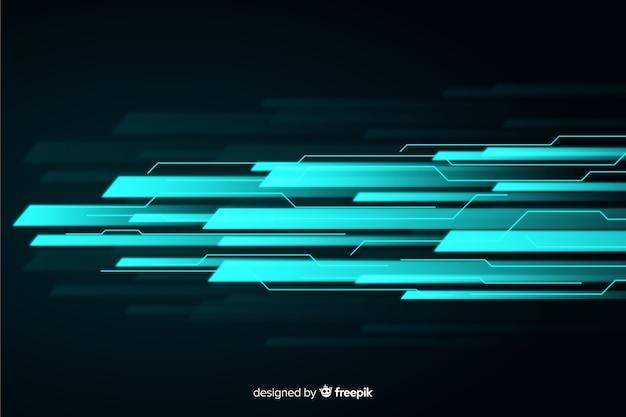 Fondo luz en movimiento diseño plano Vector Premium
