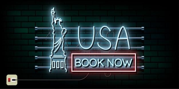 Fondo de luz de neón de viaje y viaje de nueva york y estados unidos Vector Premium
