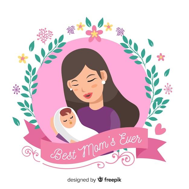 Fondo madre abrazando a su bebé día de la madre vector gratuito