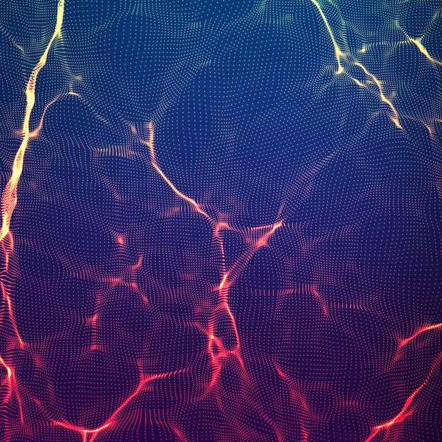 Fondo de malla de onda violeta abstracta. conjunto de nubes de puntos. ondas de luz caóticas. fondo tecnológico del ciberespacio. ondas cibernéticas. vector gratuito