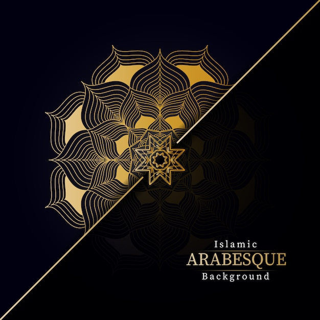 Fondo de mandala de lujo creativo con patrón de arabesco creativo dorado estilo islámico árabe oriental Vector Premium