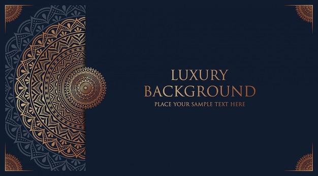 Fondo de mandala de lujo con decoración arabesca dorada estilo oriental islámico árabe Vector Premium