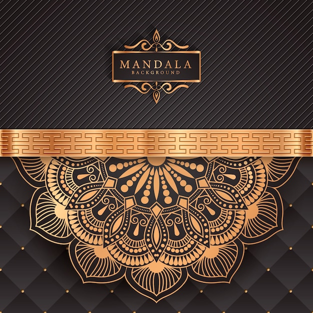 Fondo de mandala de lujo con patrón arabesco dorado estilo islámico árabe Vector Premium