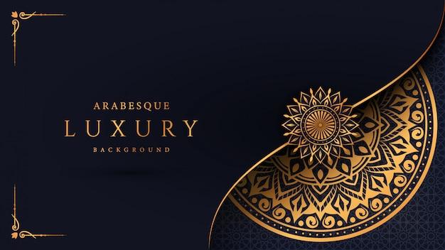 Fondo de mandala de lujo con patrón arabesco dorado estilo oriental islámico árabe Vector Premium