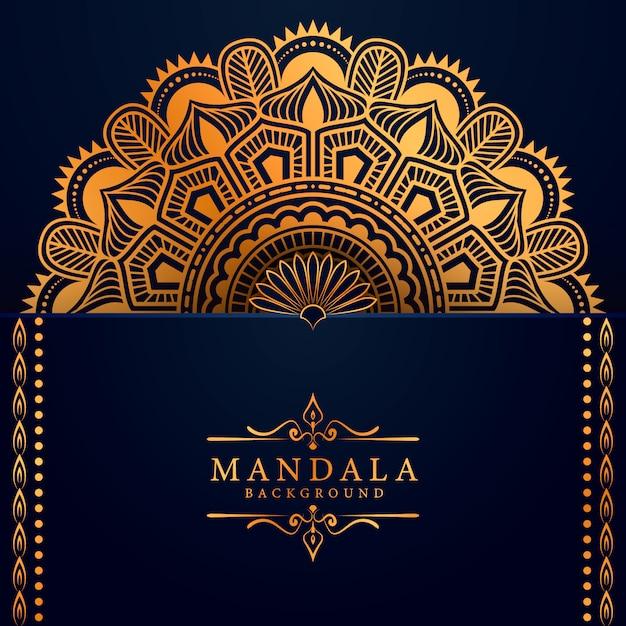 Fondo de mandala de lujo con patrón arabesco dorado Vector Premium