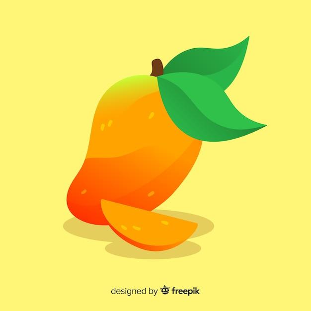 Fondo mango y hojas dibujados a mano vector gratuito