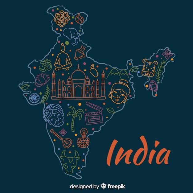 Fondo mapa de la india dibujado a mano vector gratuito