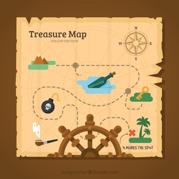 Fondo de mapa vintage del tesoro Vector Premium