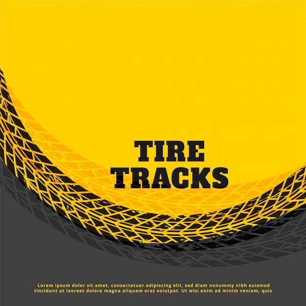 Fondo de marca de huella de neumático amarillo vector gratuito