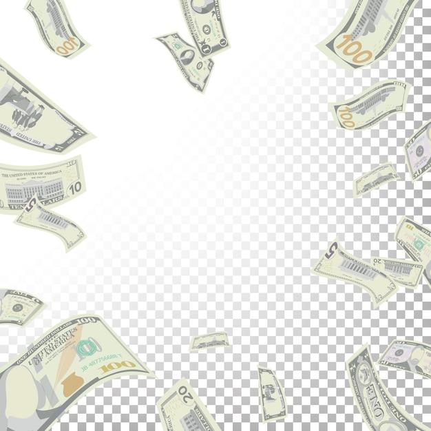 Fondo de marco de billetes de dólar volando Vector Premium