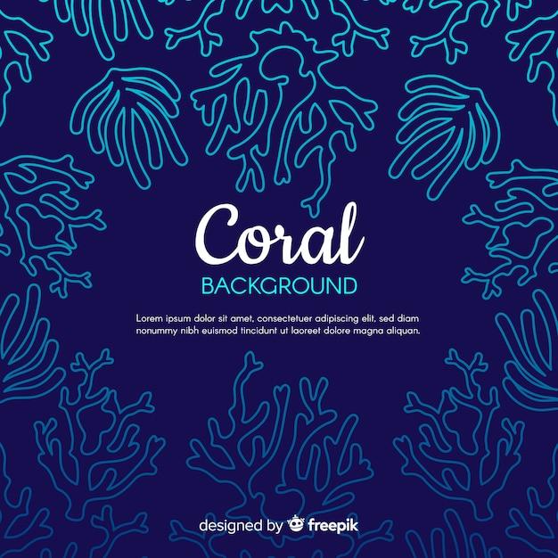 Fondo marco de coral dibujado a mano vector gratuito