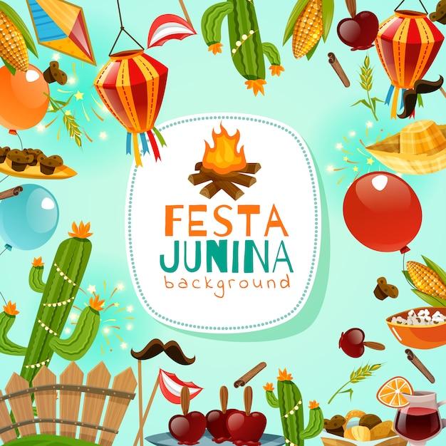 Fondo de marco festa junina vector gratuito