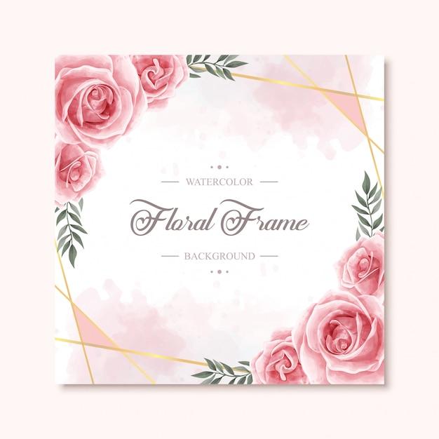 Fondo de marco de flor floral encantadora acuarela Vector Premium