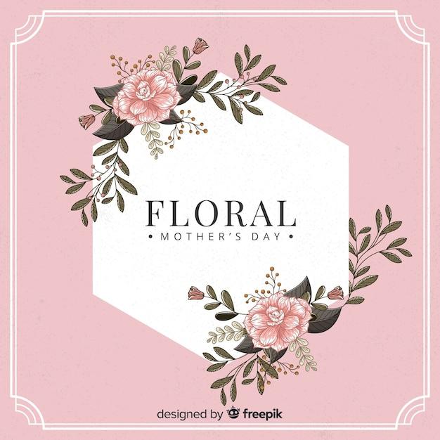 Fondo marco floral día de la madre vector gratuito