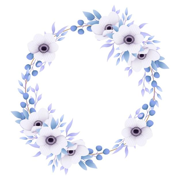 Fondo de marco floral con flores de anémona Vector Premium