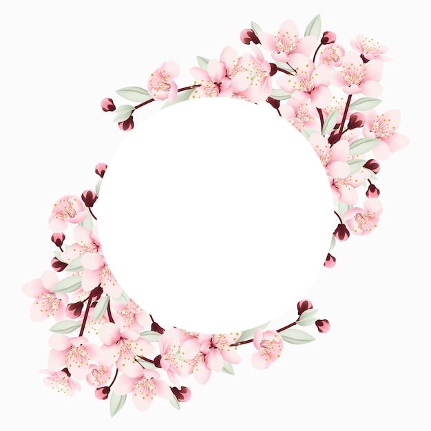 Fondo de marco floral con flores de cerezo Vector Premium
