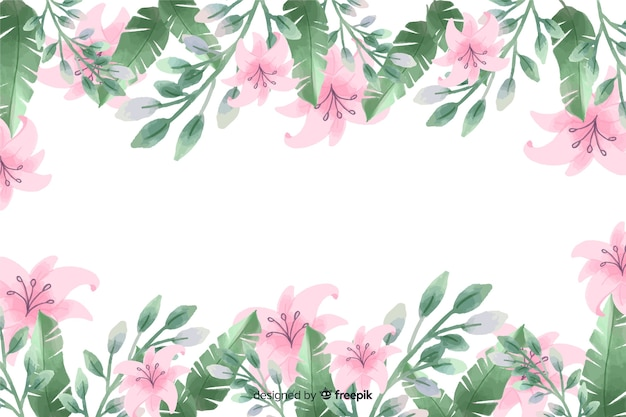 Fondo de marco de flores de lirio púrpura con diseño de acuarela vector gratuito
