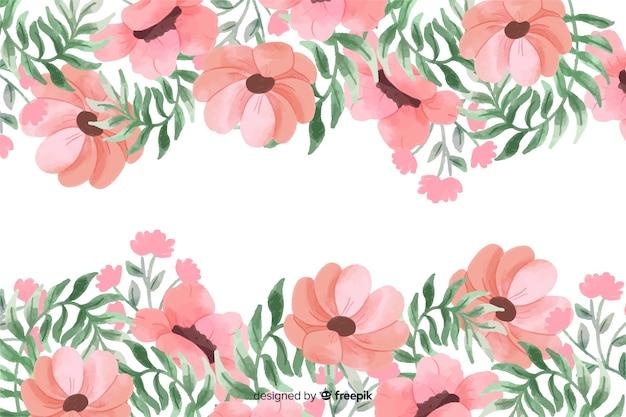 Fondo de marco de flores rosadas con diseño de acuarela vector gratuito