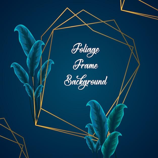 Fondo del marco del follaje del verdor tropical. fondo de marco con adorno de follaje tropical Vector Premium