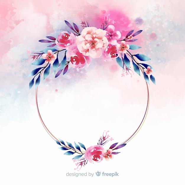 Fondo de marco geométrico floral en acuarela vector gratuito