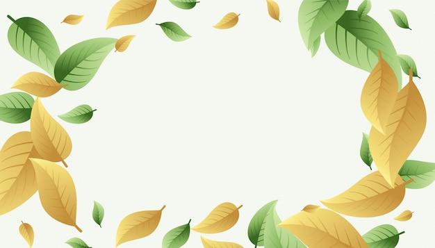 Fondo de marco de hojas en tono verde y amarillo anaranjado pálido vector gratuito