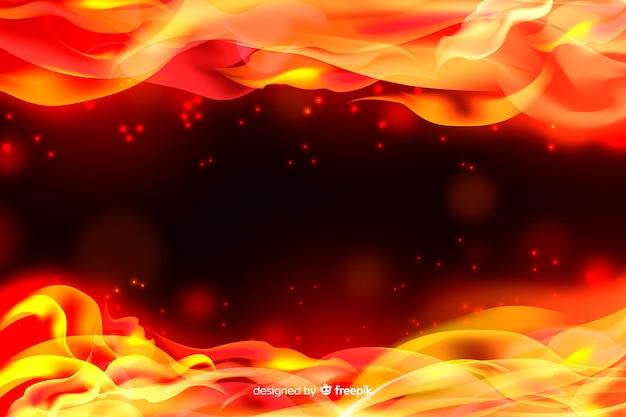Fondo de marco realista de llamas vector gratuito