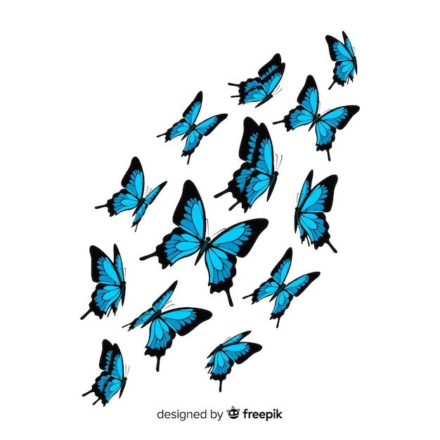 Fondo de mariposas volando en diseño plano vector gratuito