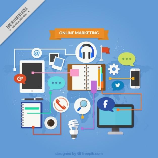 Fondo de marketing fantástico con dispositivos y herramientas vector gratuito