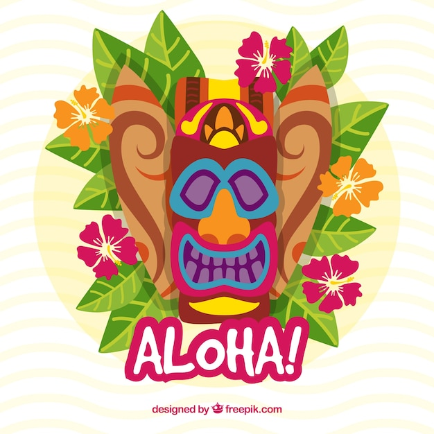 Fondo De Mascara Hawaiana Con Hojas Y Flores Descargar Vectores Gratis