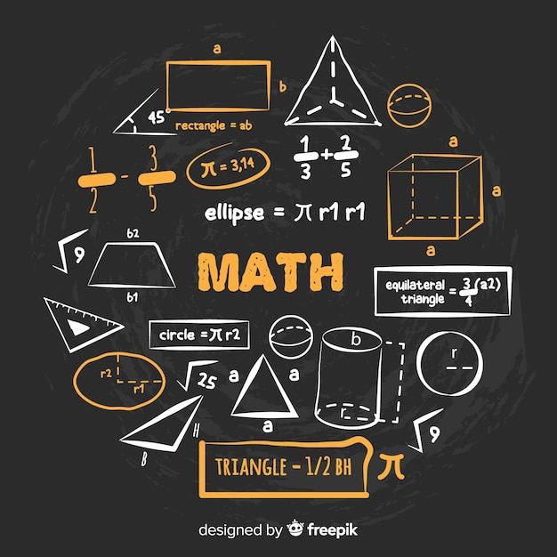Fondo de matemática en estilo de pizarra vector gratuito